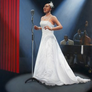 Nina Kristofferson Oil Painting White Dress Poster by Martin Gower